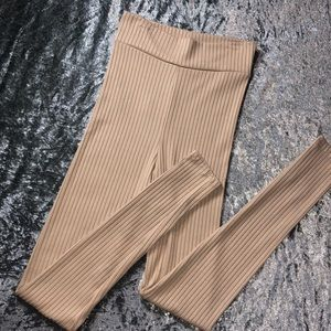 High waisted ribbed cream leggings / tights